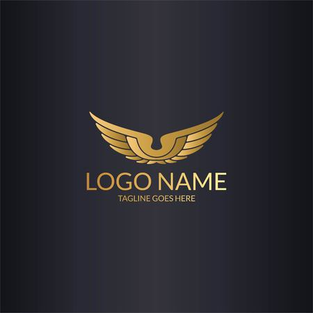 luxury gold wings  logo design vector