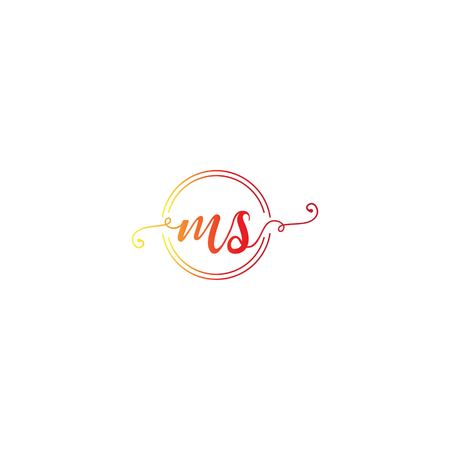 MS letter logo design vector