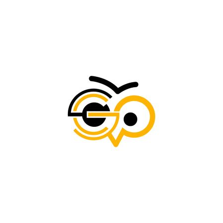go letter with owl logo Vectores