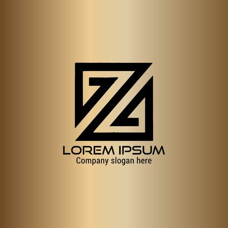 abstract Z logo design isolated on gold background