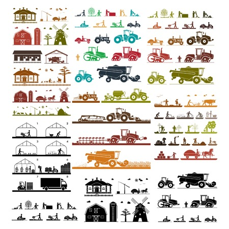 set of agriculture best logo collection