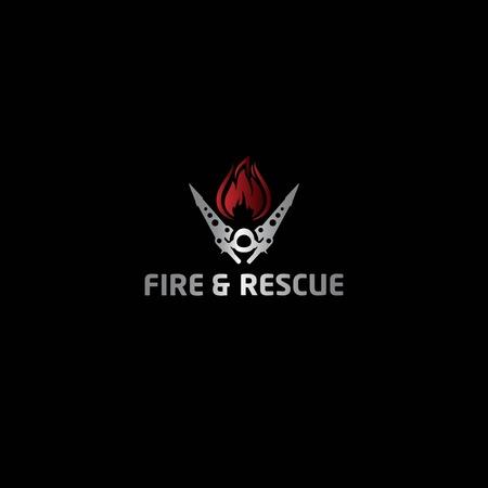 fire and rescue logo design vector Illustration