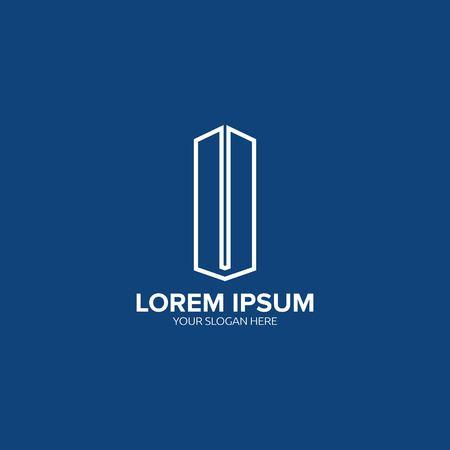 V U letter building concept -  logo design vector