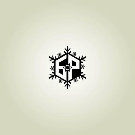 GP letter winter concept - logo design vector