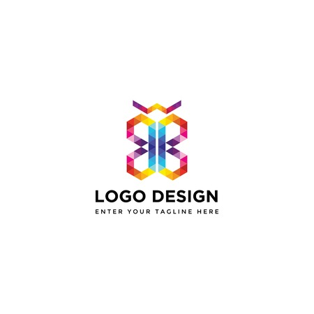abstract digital butterfly - logo design vector