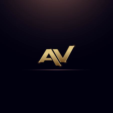 AV letter on gold color -  logo design vector