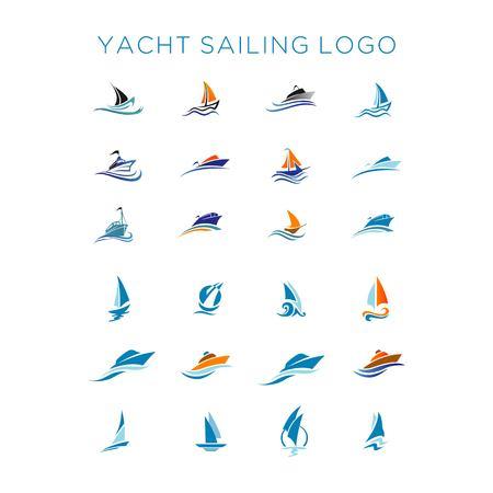 tacht sailing logo vector set
