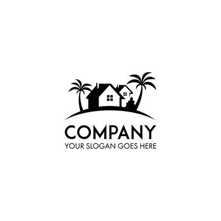 vecteur de conception de logo de maison de plage