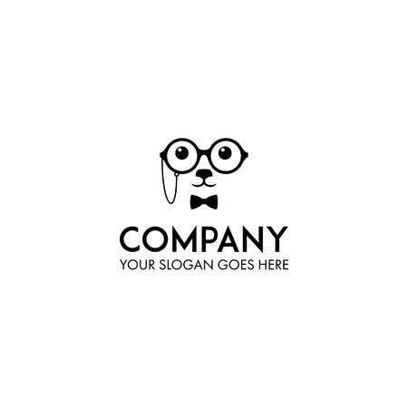 dog professor logo design vector