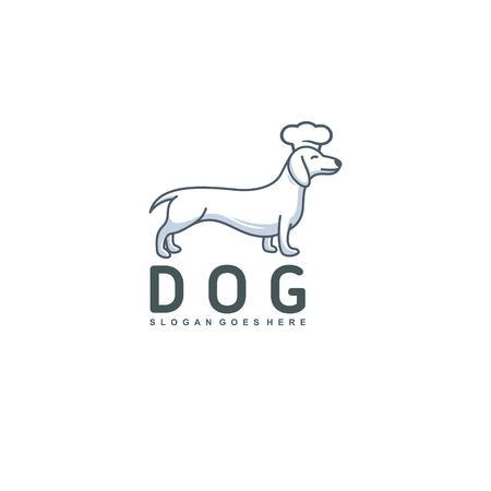 cute dog with koki hat - logo design vector Illustration