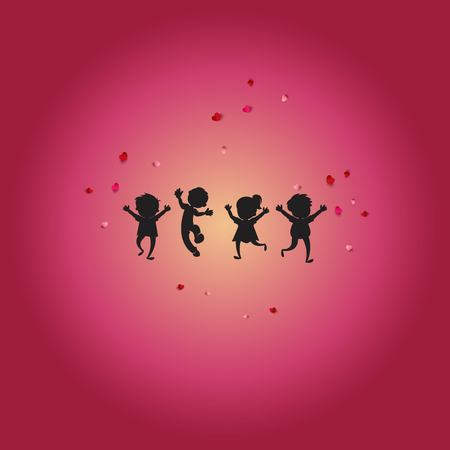happy and fun children background - logo design vector Ilustrace