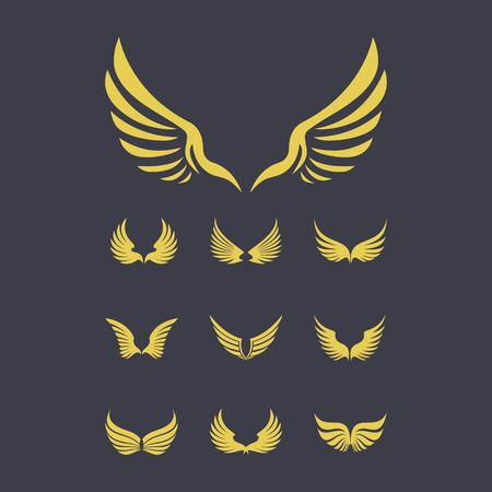 set of gold wings logo design vector