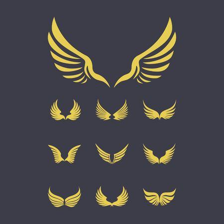 set of gold wings logo design vector