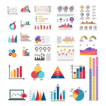 Conjunto de vector de diseño de logotipo de elemento de infografía empresarial Logos