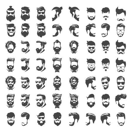 Mega set of head of man hipster concept - vecteur de conception de logo de salon de coiffure