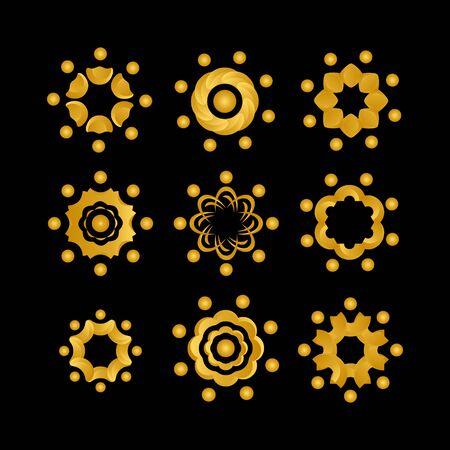 set of circcle sun logo design vector