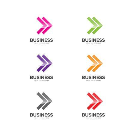 set of abstract arrow business logo design vector