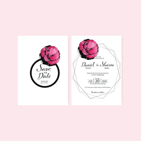 weddign invitation card logo design vector