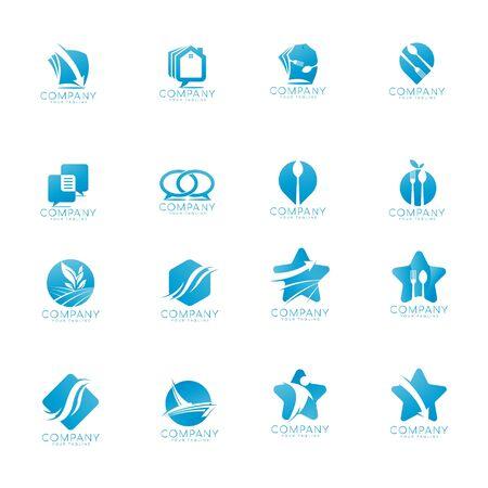 set of business star logo design vector