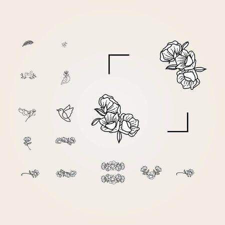 abstract flower handraw logo design vector Иллюстрация