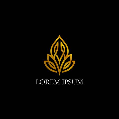abstract gold leaf logo design vector