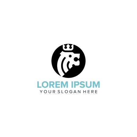 classic head lion logo design vector