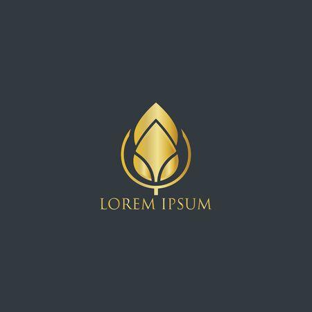 leaf logo gold - logo design vector