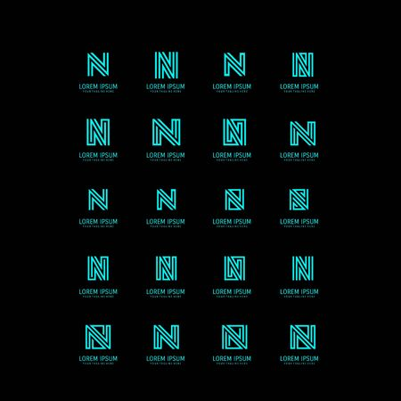 set of N letter logo design vector Иллюстрация
