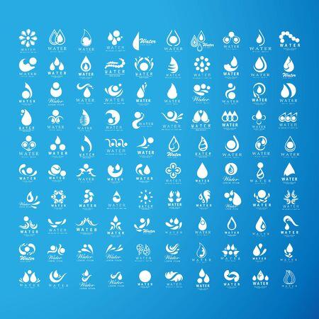 set of abstract water logo design vector