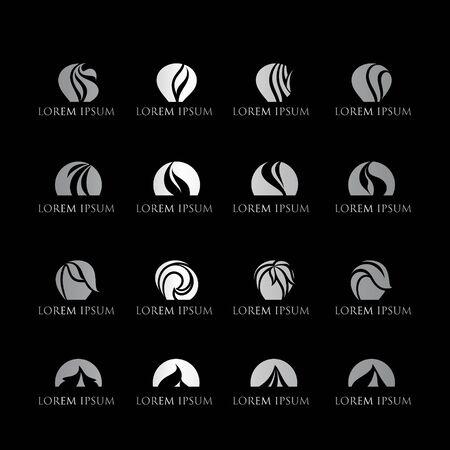 set of leaf monochrome logo design vector Иллюстрация