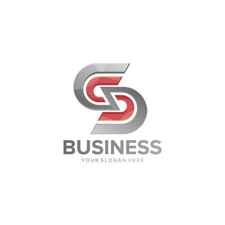 abstract SS letter logo design vector
