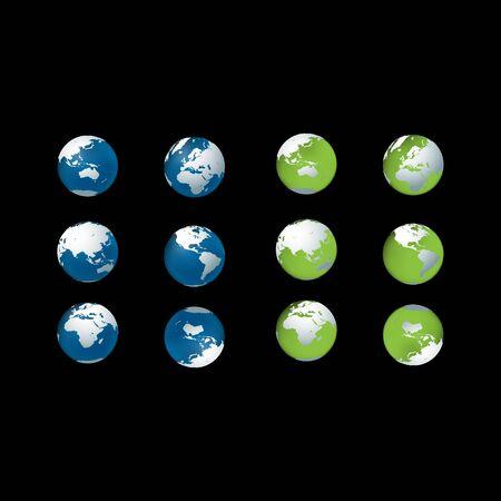 set of globe earth logo design vector