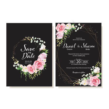 wedding invitation card logo design vector Иллюстрация