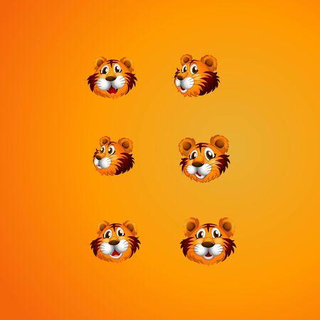 set of cute tiger head logo design vector