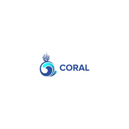 coral logo design vector isolated