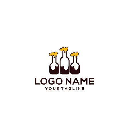 three beer logo design vector Illusztráció