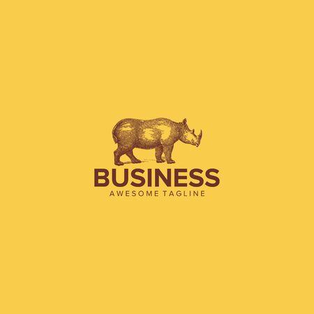 vintage rhino logo design vector