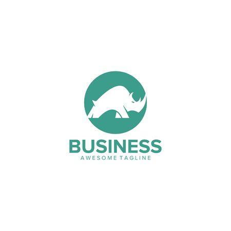 rhino logo design vector Çizim