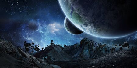 Gigantic asteroids in space about to crash on planet earth 3D rendering elements of this image furnished by NASA
