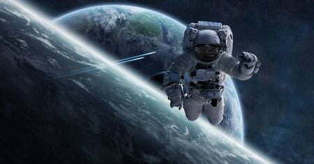 Astronaut floating in space in front of planets 3D rendering