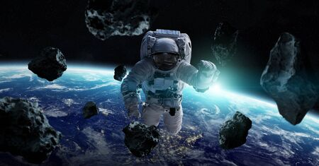 Astronaut floating in space in front of planet Earth 3D rendering