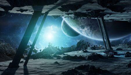 Astronauts exploring a huge asteroid alien spaceship in space 3D rendering