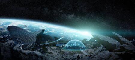 Stazione di osservazione nello spazio su un asteroide con protezione della cupola e rendering 3D del radiotelescopio