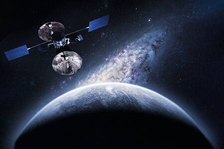 space craft satellite on the orbit exploring new planet