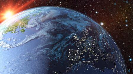 Een blik op de aarde vanuit de ruimte. 3D-rendering.