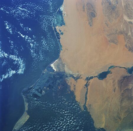 Skylab 3 Earth view of the Nile Delta, Egypt and Suez Canal.