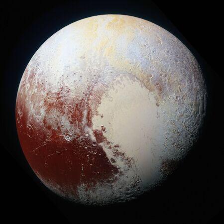 High-resolution enhanced color view of Pluto.