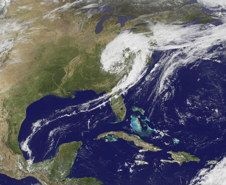 OES-13 Satellite Sees a Giant Apostrophe from Strong Eastern U.S. Low Pressure. Stock Photo