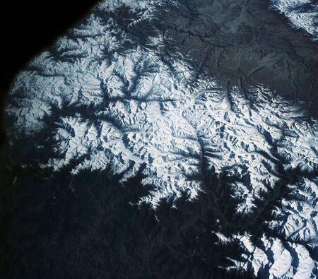 View of the Himalaya Mountain Range in the India-Nepal-Tibet border area.