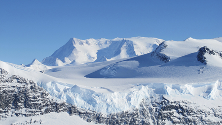 Ice on the Ellsworth Range in Antarctica as seen from the IceBridge DC-8 on Oct. 22, 2012. This image furnished by NASA